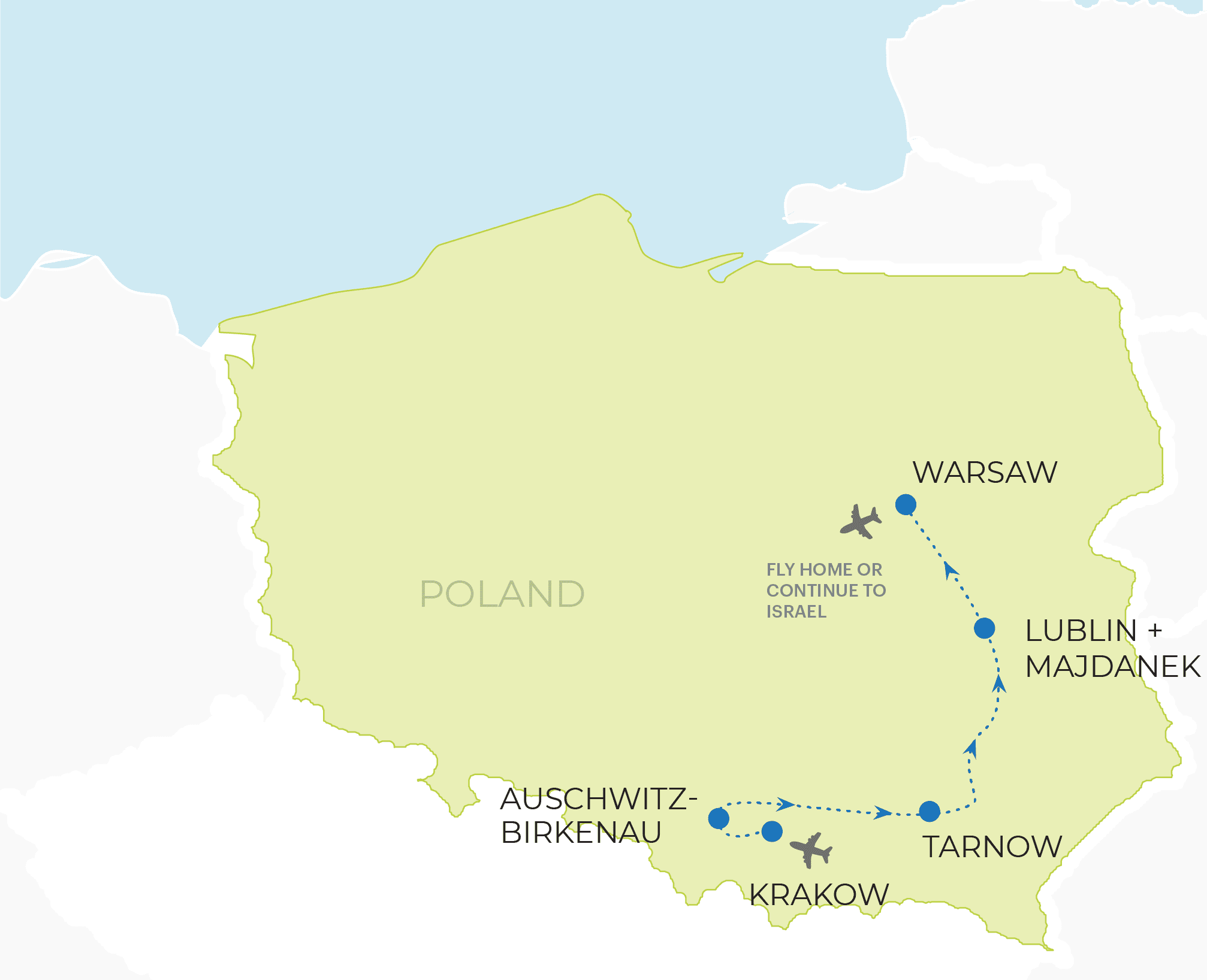 March of the living - Poland Trip Route